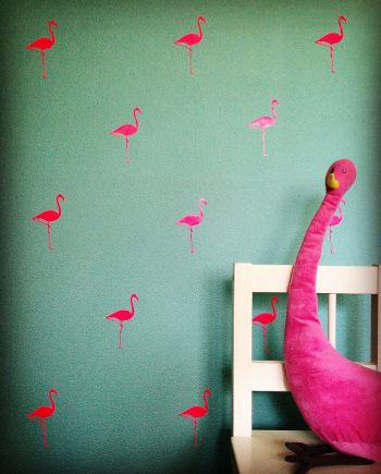 hippe muurstickers flamingo kopen